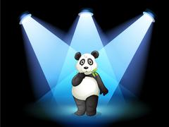 A panda at the center of the stage with spotlights Stock Illustration