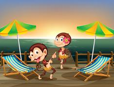 Two monkeys dancing at the wooden bridge - stock illustration