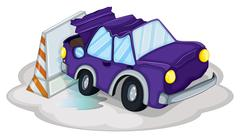 Stock Illustration of A violet car bumping the traffic cone