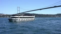 White excursion boat are navigating on Bosporus Sea, Istanbul Stock Footage