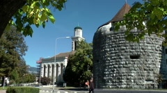 Europe Switzerland city of Solothurn 020 old watch tower and church Stock Footage
