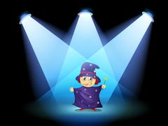 A magician standing at the stage with spotlights Stock Illustration