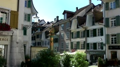 Europe Switzerland city of Solothurn 017 square with old houses Stock Footage