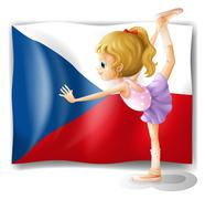Stock Illustration of A girl performing ballet in front of the Czech Republic flag