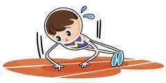 Stock Illustration of A boy performing push ups