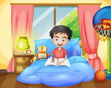 A boy writing on his bed - stock illustration
