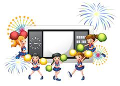 Cheerdancers with a scoreboard at the back - stock illustration