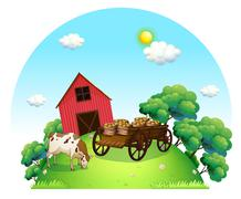 A cow and a carriage in front of a barn in the farm Stock Illustration