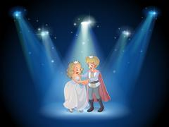 A stage with a prince and a princess Stock Illustration