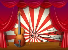 A violin with musical notes at the stage Stock Illustration