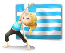 The flag of Greece and a young girl exercising - stock illustration