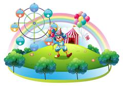Stock Illustration of A clown with balloons at the carnival in the island