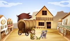 A robot and a girl beside a wagon - stock illustration