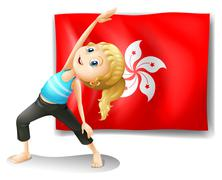 The flag of Hongkong at the back of a young girl Stock Illustration