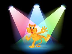 A tiger in the middle of the stage Stock Illustration