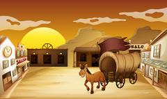A carriage outside the saloon bar Stock Illustration