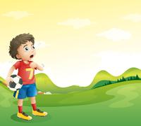 A tired young soccer player in his red uniform - stock illustration