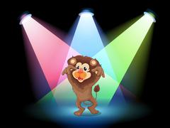 A stage with a big lion - stock illustration