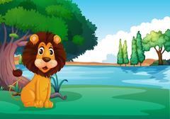 A lion sitting along the river - stock illustration