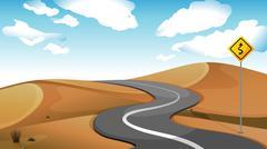 A narrow road at the desert - stock illustration