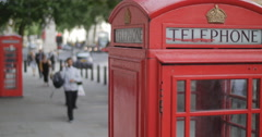 London telephone boxes and pedestrians 4K Stock Footage