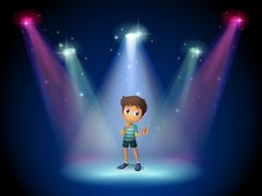 A boy acting at the stage with spotlights - stock illustration