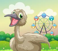 An ostrich in front of the ferris wheel - stock illustration
