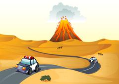 A desert with two patrol cars Stock Illustration