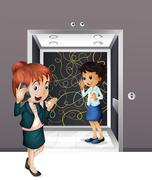 Stock Illustration of Two girls at the elevator