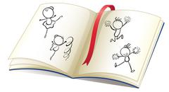 A book with a ribbon and images of kids dancing - stock illustration