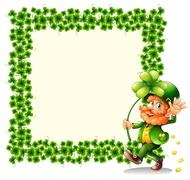 A man holding a clover leaf beside a frame made of leaves - stock illustration