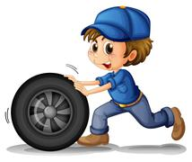 A boy pushing a wheel Stock Illustration
