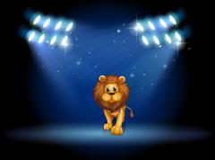 Stock Illustration of A lion at the center of the stage with spotlights