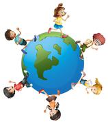 Six kids walking around the planet earth - stock illustration