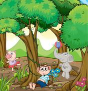 Three different kinds of animals playing at the forest Stock Illustration