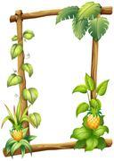 Stock Illustration of A framed wood with vine plants