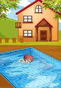 A boy swimming at the pool in his backyard - stock illustration