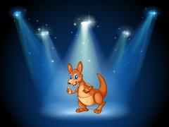 A kangaroo at the center of the stage with spotlights - stock illustration