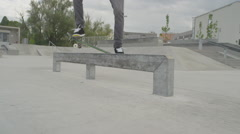 SLOW MOTION: Skateboarder skating in skate park Stock Footage