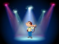 A monkey standing at the stage - stock illustration