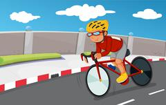 A boy biking with his safety gears - stock illustration