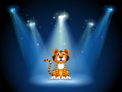 A stage with a tiger - stock illustration
