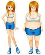 A fat and a slim woman Stock Illustration