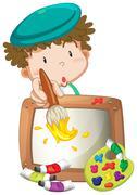 A little boy painting Stock Illustration