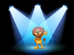 A stage with a lion waving in the middle - stock illustration