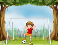 A little soccer player in his red uniform Stock Illustration