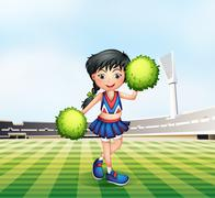 Stock Illustration of A cheerleader in the soccer field