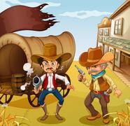 Stock Illustration of Two men holding guns with a wooden carriage at the back