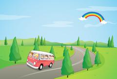 A bus with kids running along the curve road Stock Illustration