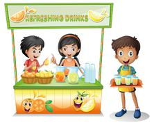 Kids at the stall selling refreshing drinks - stock illustration